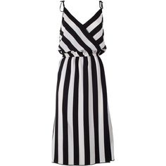 Marc Jacobs  Striped Crossover Crepe Dress (1.660 BRL) ❤ liked on Polyvore featuring dresses, nero, surplice dress, crepe dress, cross front dress, v-neck dresses and stripe dress
