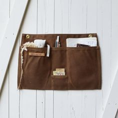 Spice Waxed Canvas Wall Pocket with 4 pockets Work Aprons, Leather Apron, Pouch, Wallet, Closet Designs, Pen Case, Waxed Canvas, Space Crafts, Wall Pockets