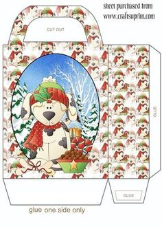 Christmas puppy gift bag on Craftsuprint designed by Stephen Poore - Now available for download!