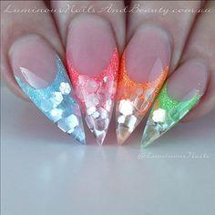 Neon Multicolor Stiletto Nails With Glitter nails bunt Bright Nails, Neon Nails, Bling Nails, Stiletto Nails, Glitter Nails, Neutral Nails, Fancy Nails, Bright Nail Designs, Short Nail Designs