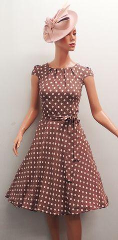 New Rosa Rosa Polkadot in Mocha or Nude WW2 1930's/40's style Wartime Tea Dress