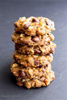 Vegan Almond Butter Chocolate Chip Walnut Oat Cookies (Gluten-Free, Oat Flour, Dairy-Free, Vegan)