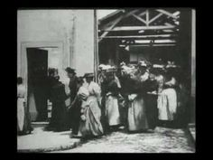 The LUMIERE BROTHERS: the earliest filmmakers in history (together with Thomas Edison in America started exploring the narrative possibilities of cinema). Their first film is 'Workers Leaving the Lumière Factory' (1895). Their first public screening of films at which admission was charged was held on in 1895 in Paris. This history-making presentation featured ten short films, including their first film. Each film is 17 meters long, which runs approx 50 sec.