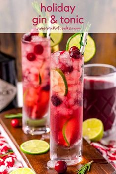 Gin & Tonic Cocktails, Cranberry Juice Cocktail, Cocktail And Mocktail, Gin And Tonic, Cocktail Recipes, Tonic Water, Winter Cocktails, Classic Cocktails, Holiday Drinks