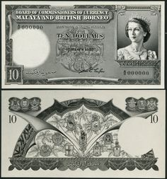 (†) Board of Commissioners of Currency, Malaya and British Borneo, a printers archival photograph for the obverse and reverse of a proposed issue of $10, 1 March 1952, serial number A/11 000000, black and white, Elizabeth II at right, reverse arms and plants