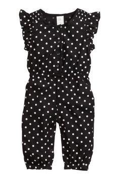 H&M - Patterned Jumpsuit - Black - Kids Black Kids Fashion, Little Girl Fashion, Toddler Fashion, Toddler Outfits, Kids Outfits, Toddler Girl, Baby Kids, Jumpsuit For Kids, Baby Girl Jumpsuit