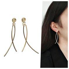 Gold Bar Clip On Earrings Dangle Curved Bar Spiral Clip On | Etsy Clip On Earrings, Dangle Earrings, Elizabeth Smith, Ear Piercings, Spiral, Dangles, Brass, Elegant, Wire