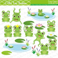 Frog Clipart  Spring frogs lilypads frogs cat by CeliaLauDesigns