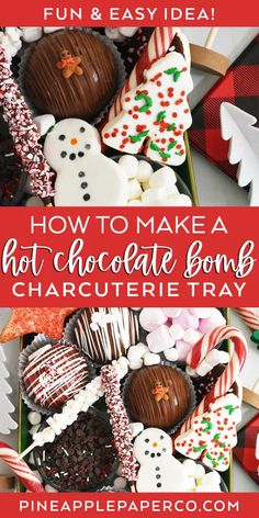 Make a DIY Hot Chocolate Bomb Charcuterie Tray for Christmas or Movie Night! Tutorial at Pineapple Paper Co. #hotchocolatebomb #charcuterieboard #hotcocoacharcuterie #hotchocolatecharcuterie #diycharcuterieboard Hot Chocolate Party, Hot Chocolate Coffee, Christmas Hot Chocolate, Chocolate Bomb, Hot Chocolate Recipes, Christmas Sweets, Chocolate Flavors, Christmas Baking, Christmas Goodies