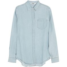 Acne Studios Wave denim shirt (€82) ❤ liked on Polyvore featuring tops, blouses, shirts, long sleeves, light denim, long sleeve blouse, long-sleeve shirt, cut loose shirt, lightweight denim shirt and blue shirt