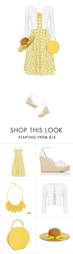 """Yellow Gingham Dress"" by daiscat ❤ liked on Polyvore featuring Tabitha Simmons, Alexa Starr, Maje and Betsey Johnson"