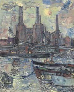 Artwork by John Minton, Battersea Power Station, Made of oil on canvas John Minton, New Artists, British Artists, 1950s Art, Battersea Power Station, Art Deco Stil, Art For Art Sake, London Art, City Art