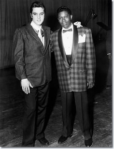 Elvis Presley and B.B. King backstage at the WDIA Goodwill Revue
