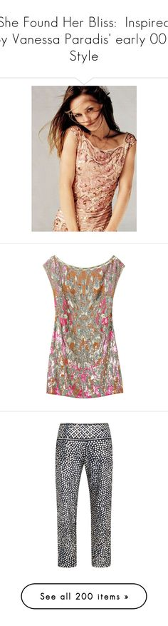 """""""She Found Her Bliss:  Inspired by Vanessa Paradis' early 00's Style"""" by atomik-concia ❤ liked on Polyvore featuring dresses, tops, vestidos, women, straight dresses, brown cocktail dress, feather cocktail dress, boatneck dress, beaded shift dress and pants"""