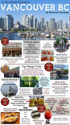 Shortcut Travel Guide to Vancouver British Columbia Traveling to Vancouver, BC, Canada? Check out this shortcut guide to Vancouver, including top places to stay, things to do and where to eat and drink. Vancouver Island, Vancouver Seattle, Vancouver Vacation, Vancouver Travel, Vancouver Restaurants, Vancouver Shopping, Granville Island Vancouver, Vancouver Chinatown, Stanley Park Vancouver