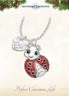 b7eba4adc9 Sterling silver-plated necklace for granddaughter with ladybug design,  hand-applied enamel,. Bradford Exchange Online.