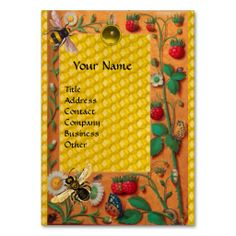 HONEY BEE SPRING FLOWERS AND STRAWBERRIES BEEKEPER BUSINESS CARD TEMPLATES