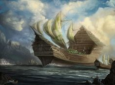 Elven City Ship - Since the Sea elves live their life mostly on the seas, hey have built giant ships which can contain population as big as a city's Fantasy City, Fantasy Castle, High Fantasy, Medieval Fantasy, Fantasy World, Fantasy Images, Fantasy Artwork, Elven City, Sea Of Thieves