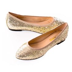Inexpensive Gold Sequin Wedding Evening Cocktail Party Prom Flats Shoes SKU-1090678