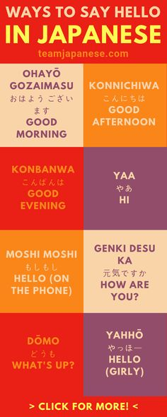 19 Different Ways to Say Hello in Japanese There are actually a lot of ways to say hello in Japanese! Casual, formal, informal, masculine, feminine etc. Learn how to greet people in Japanese correctly with this infographic. Please pin to your lea Learn Japanese Words, Japanese Phrases, Study Japanese, Japanese Culture, Japanese Sayings, Japanese Grammar, Japanese Food, Japanese Language Learning, Learning Japanese