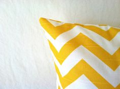 Yellow Chevron Pillow Cover   20 x 20 One Yellow by PillowStyles, $19.00