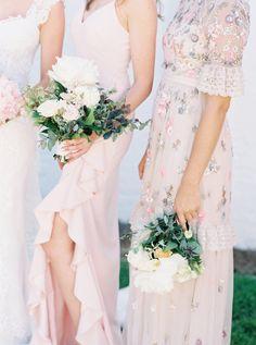 mic and match light pink feminine bridesmaid dresses, bridesmaid fashion, bridesmaid style   Photography: Sarah Ingram