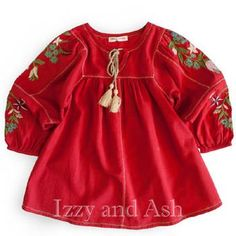 Mimi and Maggie Girls Tessa Peasant Top|Mimi and Maggie|Mimi and Maggie Fall 2017|Girls Blouses|Girls Tops #kids #tween #children #girls #girl #red #blouse #peasant #top #clothing #clothes #fashion #designer #embroidery #crochet #boho #bohemian #cute #trendy #designer