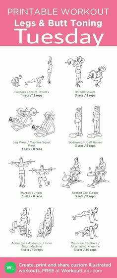 Legs & Butt Toning Gym Workout– my custom exercise plan created at WorkoutLabs. - Fitness and Exercises Fitness Workouts, Fitness Gym, Fitness Gifts, Fun Workouts, At Home Workouts, Fitness Motivation, Gym Machine Workouts, Gym Workouts For Women, Gym Routine Women
