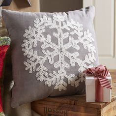 Found it at Joss & Main - Snowflake Embroidered Suede Pillow