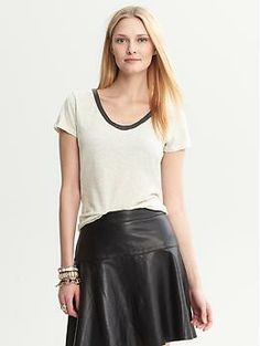 Faux-Leather Trim City Tee | Banana Republic. I want the whole look. #lookingon34thStreet