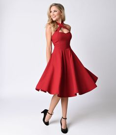 Unique Vintage 1950s Style Red Rita Halter Flare Dress