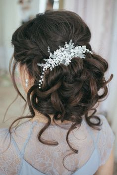 Bridal Hair Comb Pearl and Crystal Comb от PrettyYouWedding