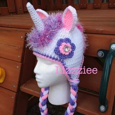 Unicorn Hat Crochet Pattern PDF  instructions for by lizzziee