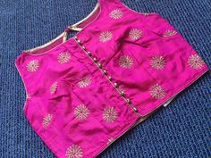 Hot Pink Zari Embroidery Blouse in Size - 38 Sari Blouse, Indian Sarees, Printed Blouse, Boat Neck, Blouse Designs, Casual Wear, Hot Pink, Blouses, Embroidery