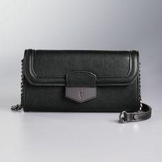 Simply Vera Vera Wang Signature Fold Over Crossbody Bag, Women's, Grey