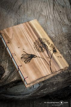 Dandelion Cedar Wooden Journal by MsquarePress on Etsy Diy Notebook Cover, Tienda Natural, Homemade Books, Wooden Books, Small Wood Projects, Wood Burning Art, Custom Book, Ideias Diy, Handmade Journals