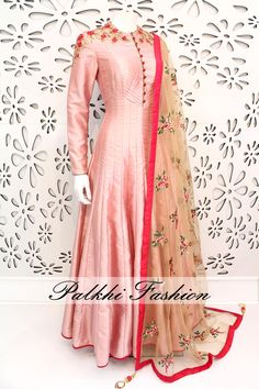 PalkhiFashion Exclusive Full Flair pink Silk Outfit with Elegant Handwork on Neck and Sleeve. This amazing Outfit Comes with Embroidered Duppata.
