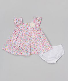 Another great find on #zulily! Pink Floral Angel-Sleeve Dress & Diaper Cover - Infant & Toddler #zulilyfinds