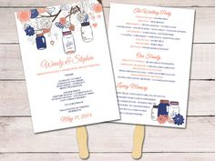 Rustic Wedding Fan Program Template