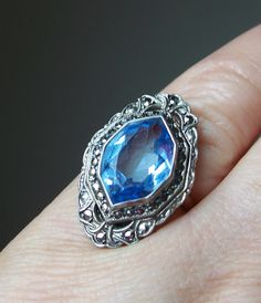Antique Art Deco Ring Sterling Silver Marcasite Blue Stone Size 5.5. $78.00, via Etsy.