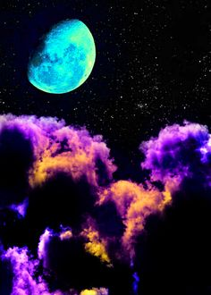 Psychedelic blue moon and purple clouds Cosmos, Psy Art, Moon Pictures, Beautiful Moon, To Infinity And Beyond, Moon Art, Galaxy Wallpaper, Planets Wallpaper, Psychedelic Art
