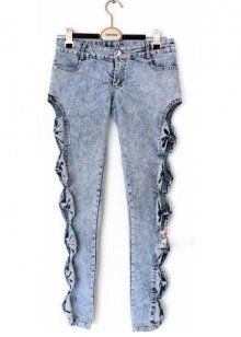 8c7d6da7ce69d 2014 spring new sexy ladies vintage washed jeans female trousers pencil  pants feet pierced the side