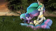 #1370350 - 3d, alicorn, artist:mythicspeed, flower, pony, princess celestia, princess twilight, prone, safe, sitting, source filmmaker, tree, twilight sparkle - Derpibooru - My Little Pony: Friendship is Magic Imageboard