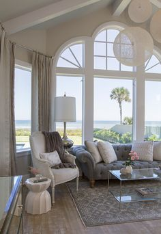 Shingle Style Gambrel Beach House Master Bedroom Seating Area.