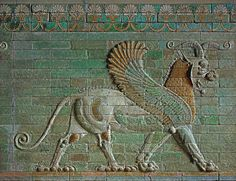 Winged lion with ram. Ancient Aliens, Ancient Egypt, Ancient History, Art History, Ancient Mesopotamia, Ancient Civilizations, King Of Persia, Achaemenid, Fu Dog