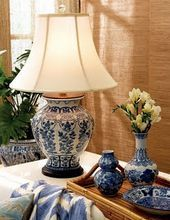 A cohesive collection that is contained on the bamboo tray, that speaks to the grass cloth on the walls and tropical foliage. Lampshade on straight! Details matter and this look is cozy, warm and accessible. Blue And White Lamp, Blue And White China, Blue China, White Lamps, Delft, Chinoiserie Chic, Chinoiserie Wallpaper, Blue Rooms, Ginger Jars