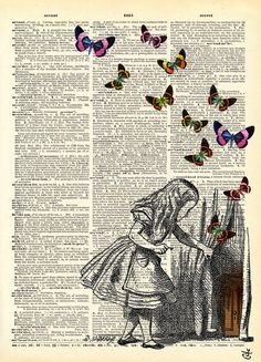 fantasy world black and white girl cool fantasy weird butterflies book sketch illustration Alice in wonderland book sketch Book Page Art, Book Pages, Altered Books, Altered Art, Art Photography, Illustration Art, Artsy, Sketches, Drawings