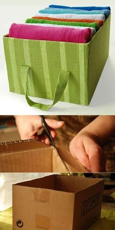 These DIY Fabric Storage Boxes are so handy and fun to make. Check out the Hanging Fabric Storage Boxes as well.Useful Handmade Box - AllDayChicI knew keeping every box would come in handyOptions for DIY Decorative Boxes - Diana PhoneixRecipes, DIY, Fabric Storage Boxes, Fabric Boxes, Box Storage, Storage Ideas, Diy Home Crafts, Diy Arts And Crafts, Diy Para A Casa, Diy Karton, Fabric Covered Boxes