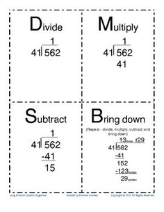 Long division worksheets free... using graph paper