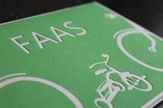 Letterpress geboortekaartje Faas, fietsen en driewieler